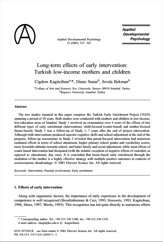 Long-term Effects of Early Intervention: Turkish Low-Income Mothers and Children