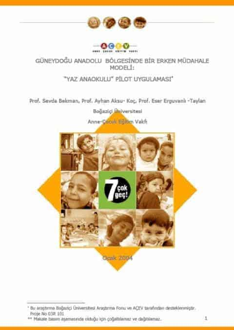 """A Model of Early Intervention in South East Turkey: A Pilot Implemention of the """"Summer School""""s"""